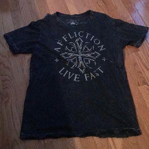 Men's Affliction large black short sleeve T-shirt
